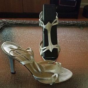 Manolo Blahnik silver strap heels